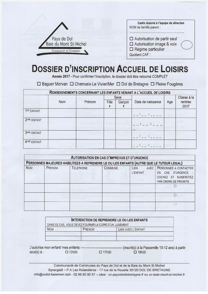 Dossiers pour le Centre de Loisirs cet été