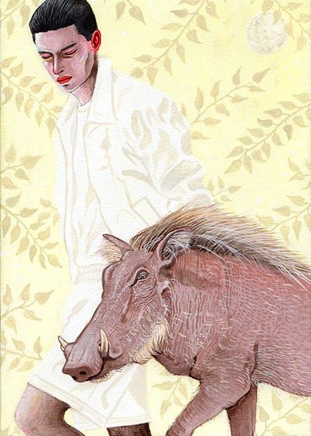 疣猪と男 干支亥