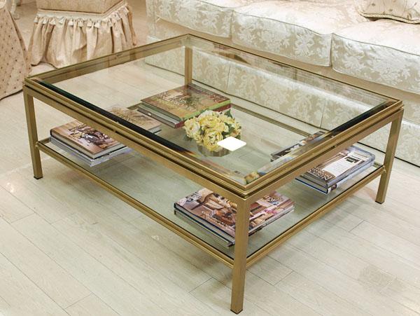 アイアンガラステーブル(ゴールド)