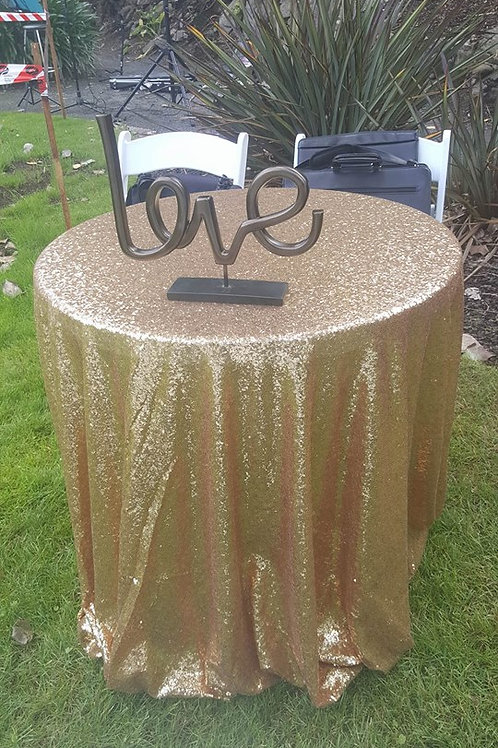 Gold Sequin Signing Table