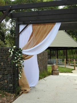 Hessian & Lace Entry Draping
