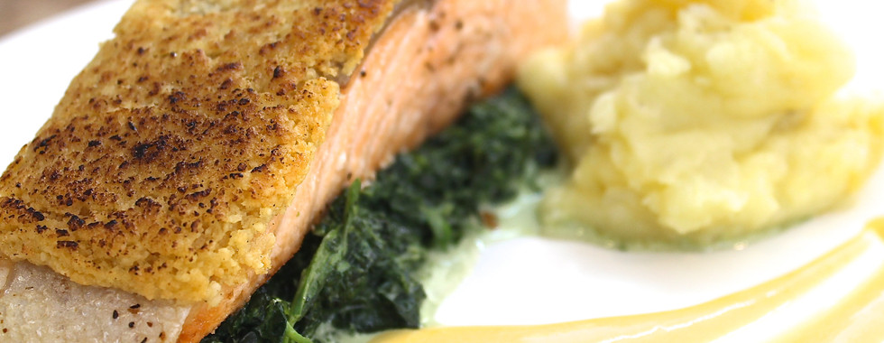 Almond Crusted Baked Salmon with Mango Hollandaise