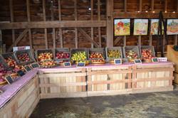 barn inside apples