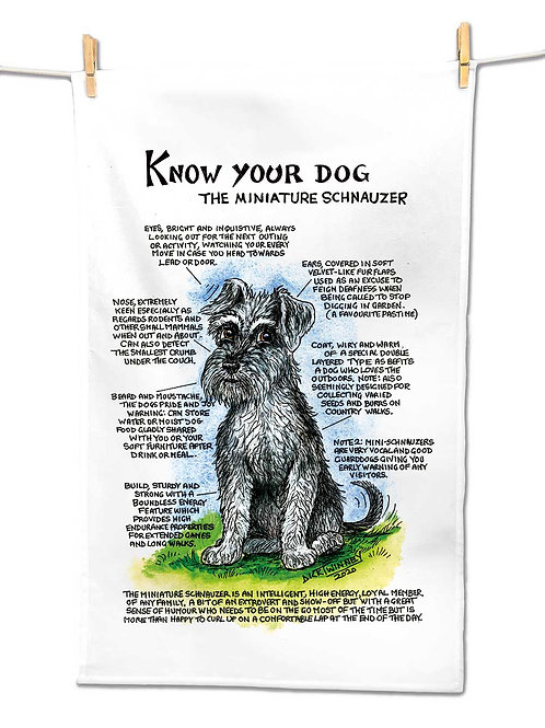 Miniature Schnauzer - Tea Towel - Know Your Dog - Pack of 6
