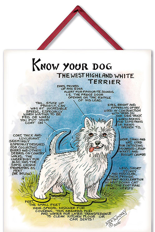 West Highland Terrier - 3D Wall Plaque - Know Your Dog - Pack of 6