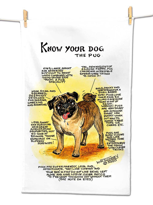 Pug - Tea Towel - Know Your Dog - Pack of 6