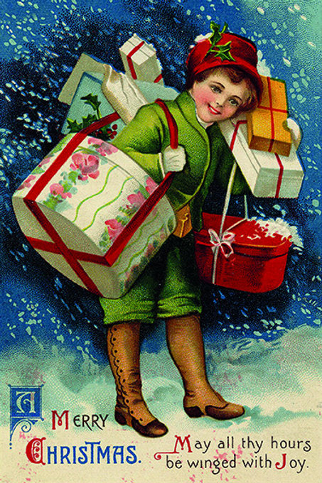 Wooden Christmas Card CS 004525 - Pack of 6
