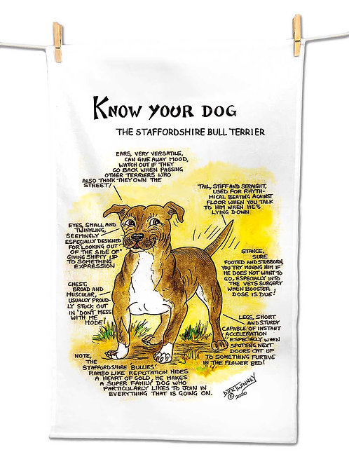 Staffordshire Bull Terrier - Tea Towel - Know Your Dog - Pack of 6