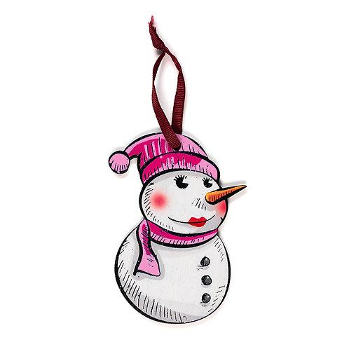 Snowwoman - Wooden Tree Hanger - Pack of 12