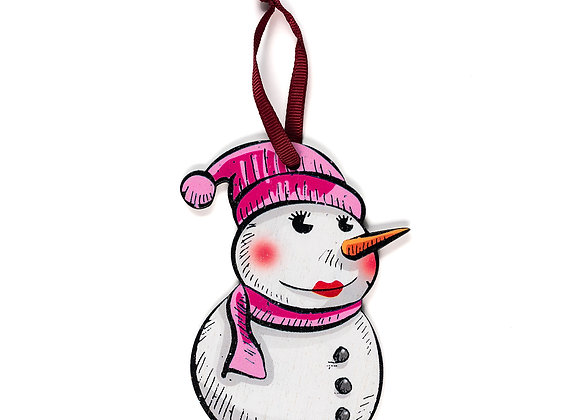 Snowwoman - Wooden Tree Hanger - Pack of 12