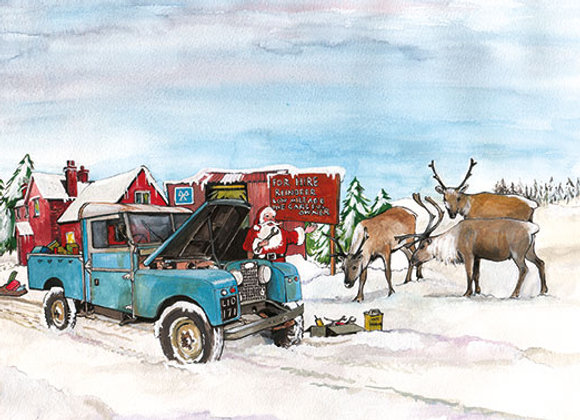 Santa's Land Rover - Wooden Christmas Card - Sue Podbery - Pack of 6