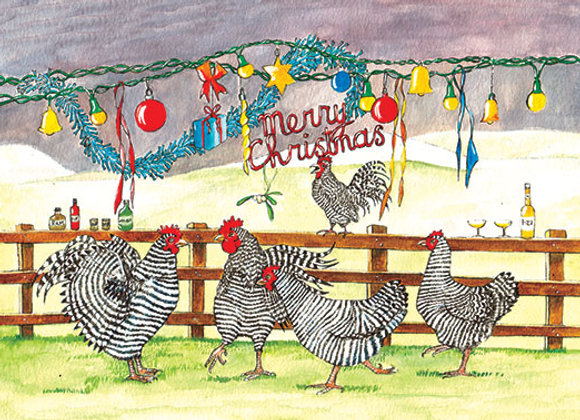 Chickens Christmas Party Time - Wooden Christmas Card - Sue Podbery - Pack 6