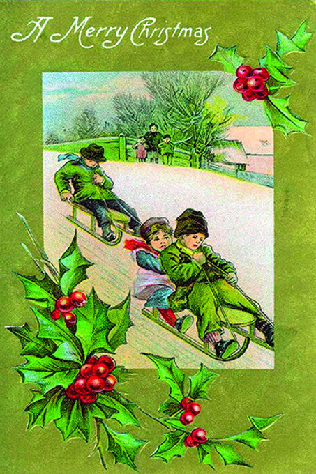 Wooden Christmas Card 8 - Pack of 6