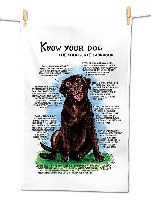 Chocolate Labrador - Tea Towel - Know Your Dog - Pack of 6