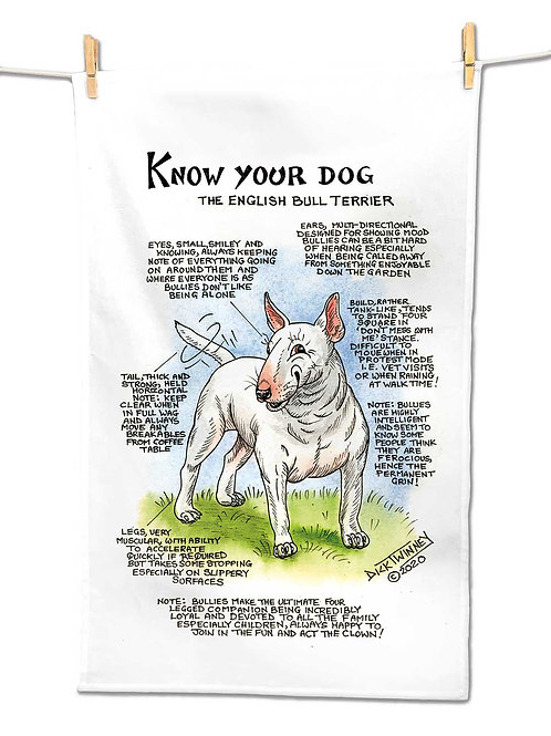 English Bull Terrier - Tea Towel - Know Your Dog - Pack of 6