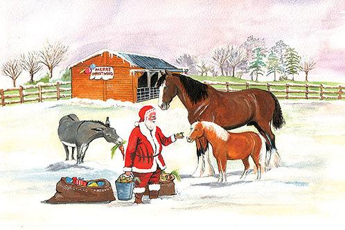 Santa & Horses - Wooden Christmas Card - Sue Podbery - Pack of 6