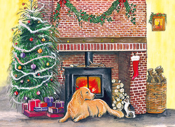 Christmas Retriever - Wooden Christmas Card - Sue Podbery - Pack of 6
