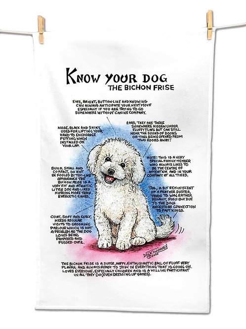 Bichon Frise - Tea Towel - Know Your Dog - Pack of 6