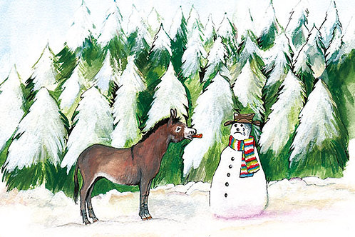 Donkey and Snowman - Wooden Christmas Card - Sue Podbery - Pack of 6