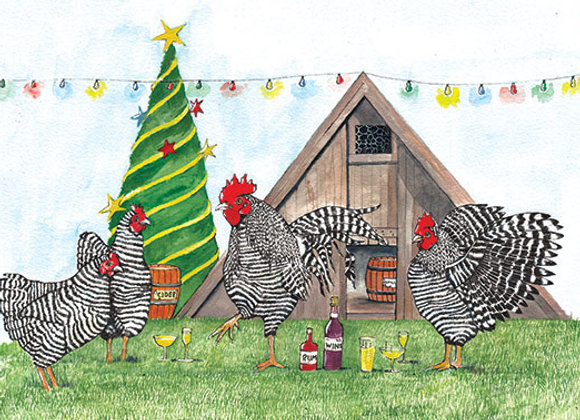 Christmas Party at the Coop - Wooden Christmas Card - Sue Podbery - Pack of 6
