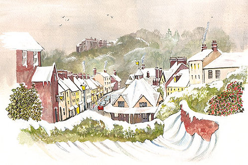 Dunster in the Snow - Wooden Christmas Card - Sue Podbery - Pack of 6