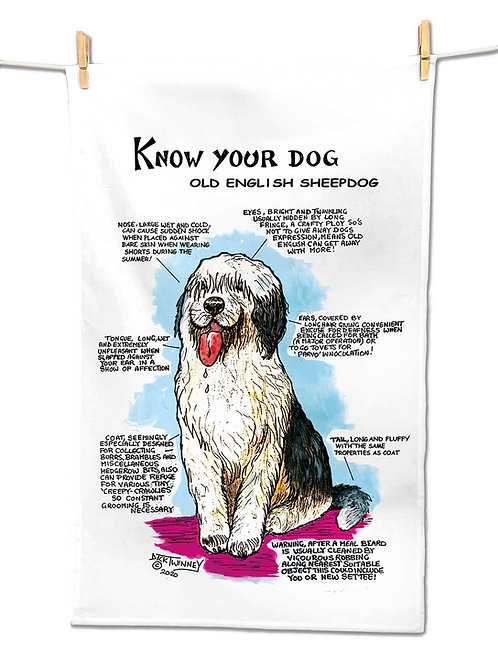 Old English Sheep Dog - Tea Towel - Know Your Dog - Pack of 6