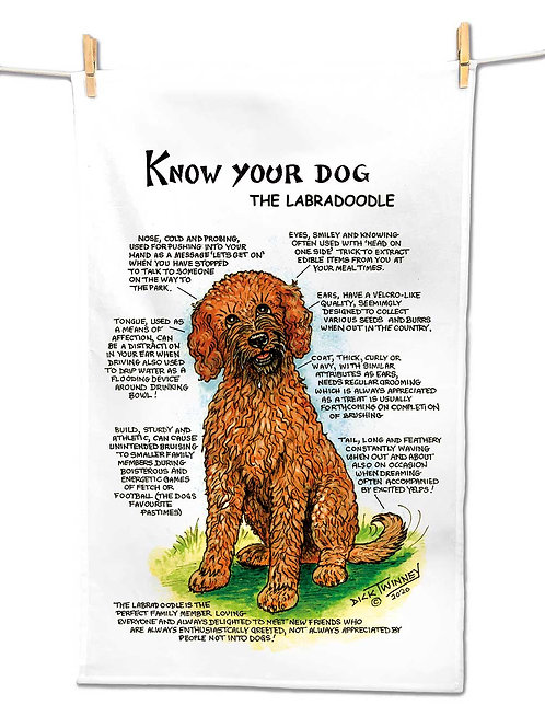 Labradoodle - Tea Towel - Know Your Dog - Pack of 6