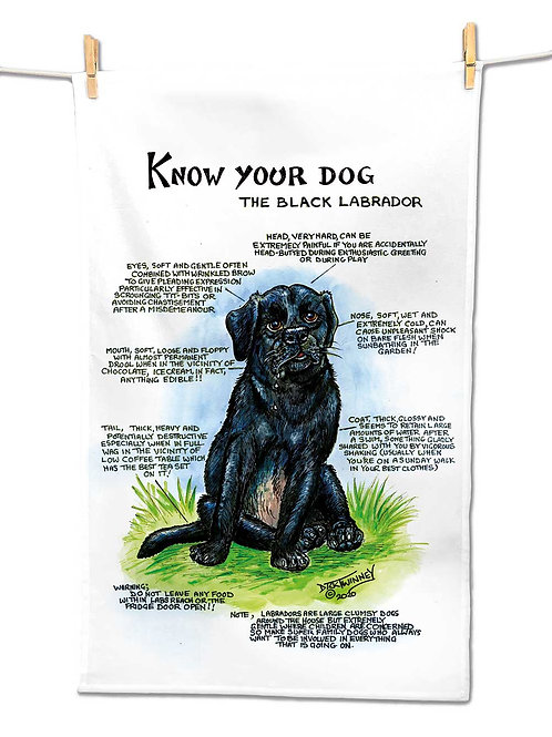 Black Labrador - Tea Towel - Know Your Dog - Pack of 6