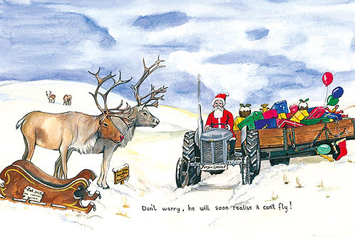 Santa's Fergie - Wooden Christmas Card - Sue Podbery - Pack of 6