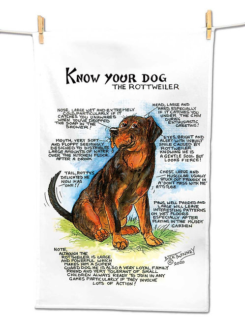 Rottweiler - Tea Towel - Know Your Dog - Pack of 6