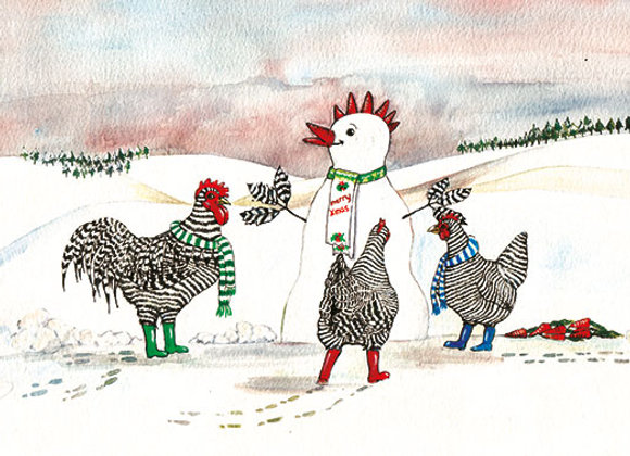 Snow Cockerel - Wooden Christmas Card - Sue Podbery - Pack of 6