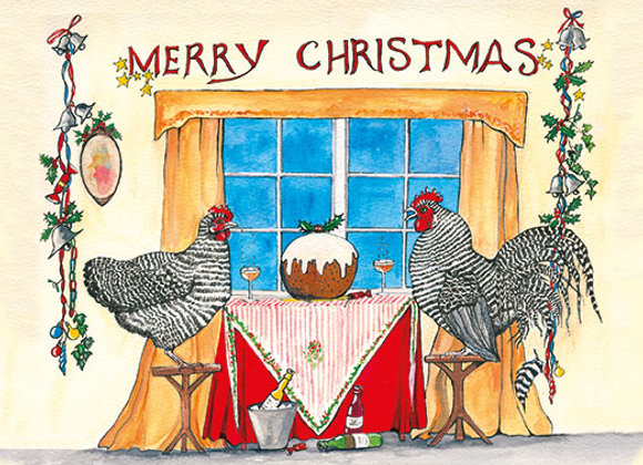 Maran Christmas 2  - Wooden Christmas Card - Sue Podbery - Pack of 6