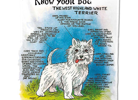 West Highland Terrier - Tea Towel - Know Your Dog - Pack of 6