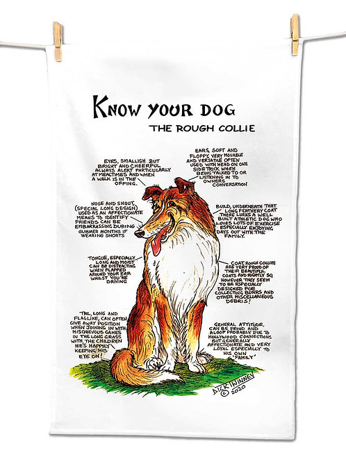 Rough Collie - Tea Towel - Know Your Dog - Pack of 6