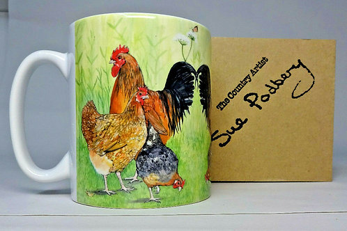 Cockerel & 2 hens - Mug 10oz - Sue Podbery - Pack of 3