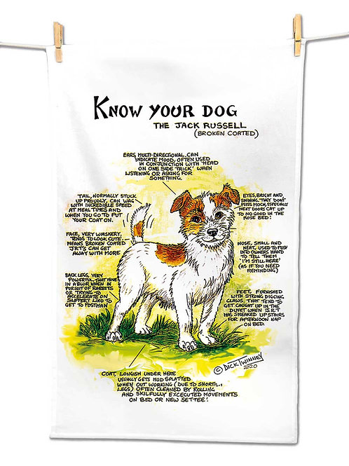 Jack Rusell Rough Coated - Tea Towel - Know Your Dog - Pack of 6