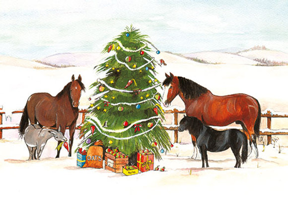 Horses & Christmas Tree - Wooden Christmas Card - Sue Podbery - Pack of 6
