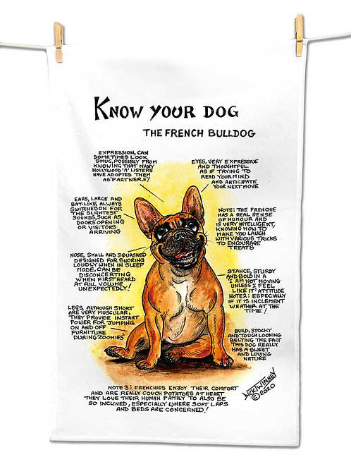 French Bull Terrier - Tea Towel - Know Your Dog - Pack of 6