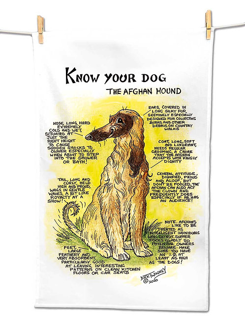Afghan Hound - Tea Towel - Know Your Dog - Pack of 6