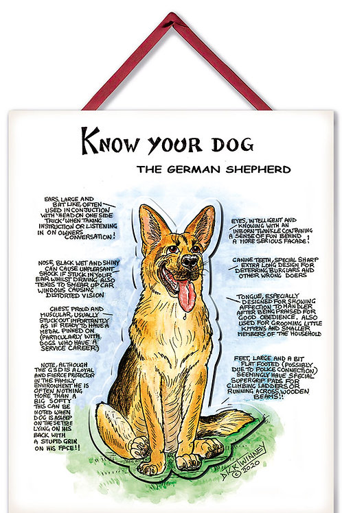 German Shepherd - 3D Wall Plaque - Know Your Dog - Pack of 6
