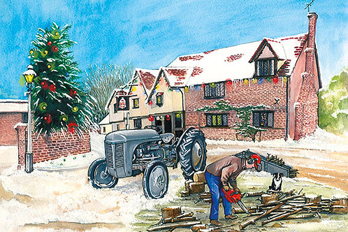 Winter Logging - Wooden Christmas Card - Sue Podbery - Pack of 6