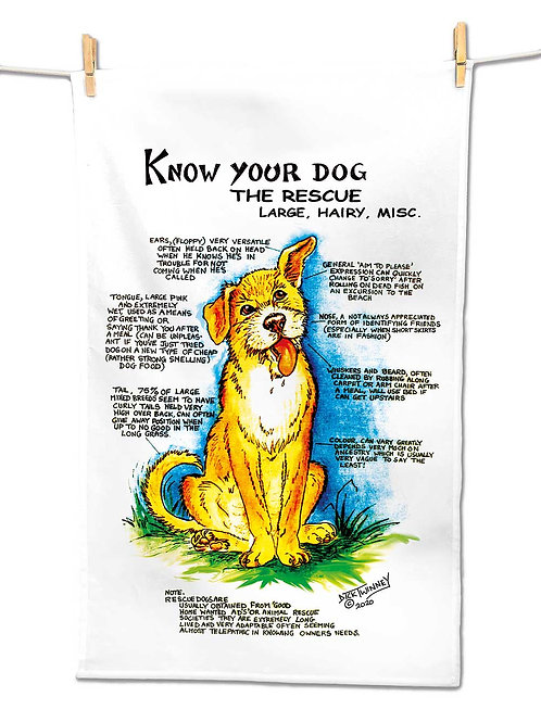Rescue Dog Large - Tea Towel - Know Your Dog - Pack of 6