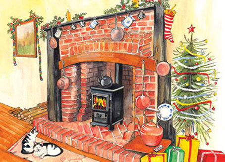 Christmas Fireplace - Wooden Christmas Card - Sue Podbery - Pack of 6