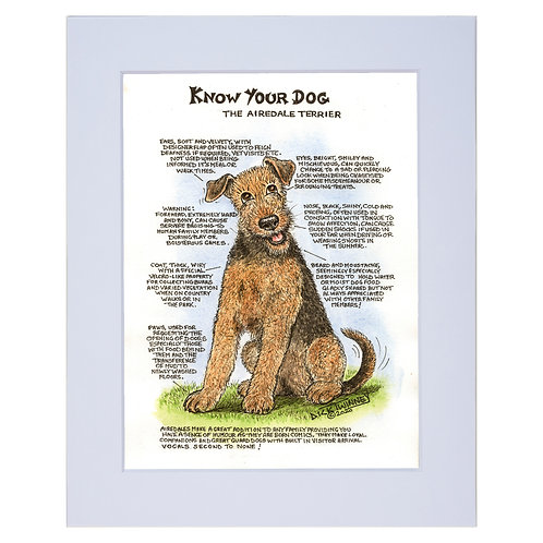 Airedale  - A4 Mounted Print - Know Your Dog - Pack of 6