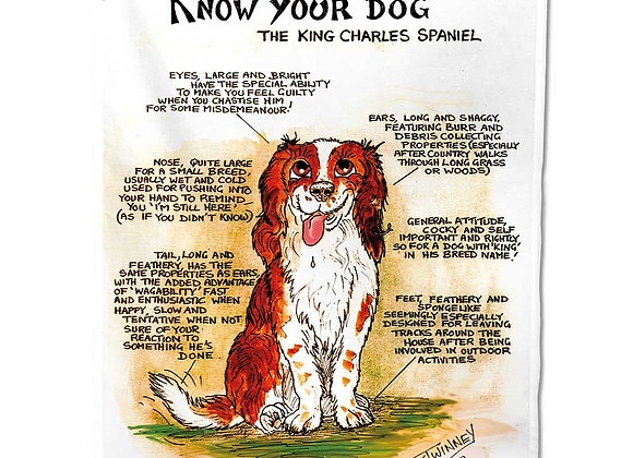 Kings Charles Spaniel - Tea Towel - Know Your Dog - Pack of 6