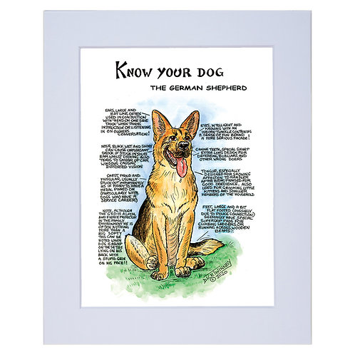 German Shepherd - A4 Mounted Print - Know Your Dog - Pack of 6