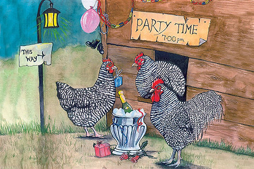 Chickens Christmas Party - Wooden Christmas Card - Sue Podbery - Pack of 6