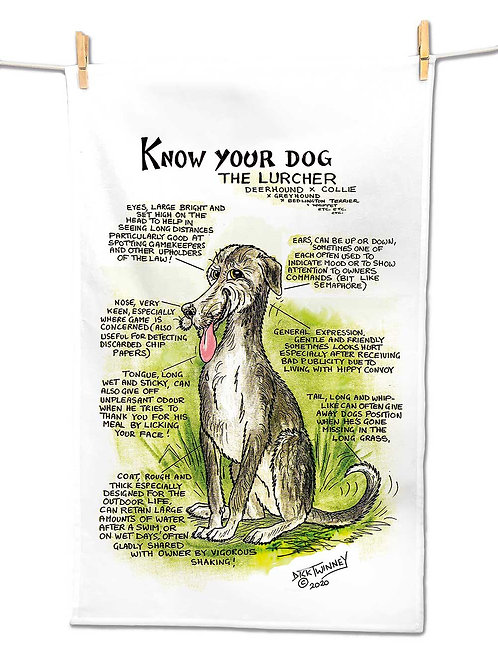 Lurcher - Tea Towel - Know Your Dog - Pack of 6