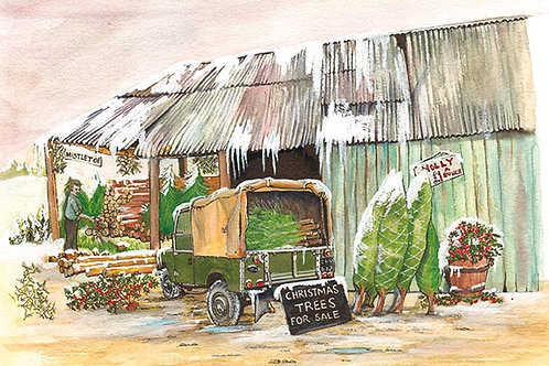 Land Rover and Xmas Trees Snow - Wooden Christmas Card - Sue Podbery - Pack of 6