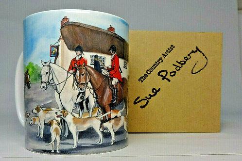 Hunt at the Bell Inn - Mug 10oz - Sue Podbery - Pack of 3